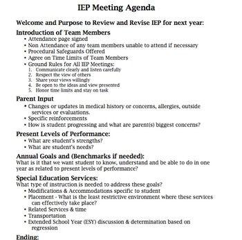 Iep Meeting Agenda  Iep    Special Education Teaching