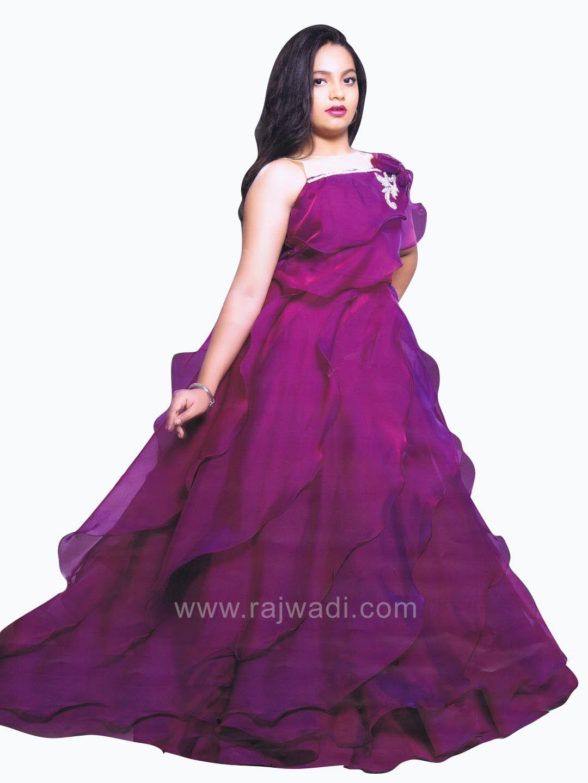 4c7e090f8 Purple Net Embellished Multi Layered Gown  rajwadi  kidswear  girls ...