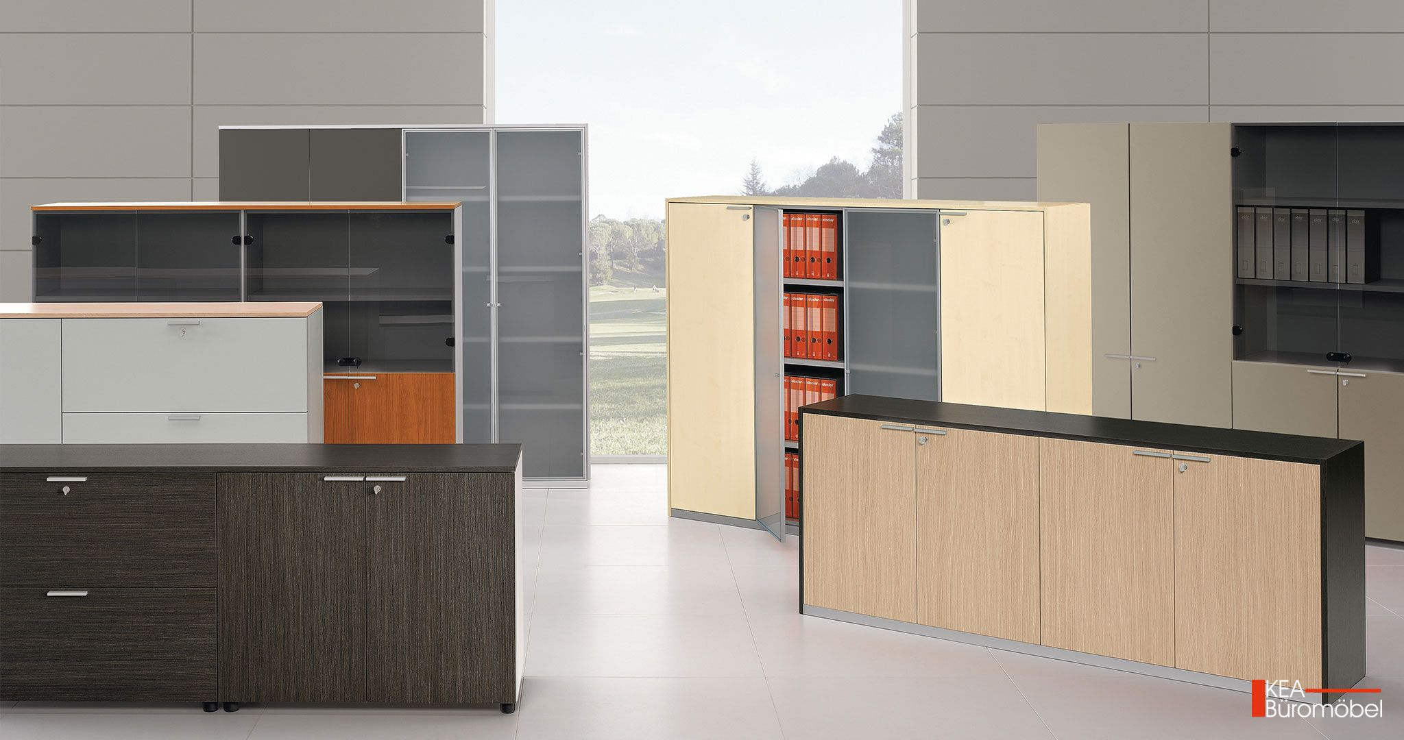 KEA Büroschränke mit Flügeltüren und Kea Glastüren mit Aluminium-Rahmen