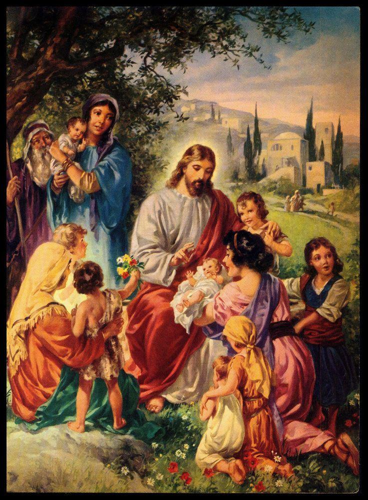 VINTAGE 1953 COME UNTO ME JESUS CALLS THE CHILDREN ART