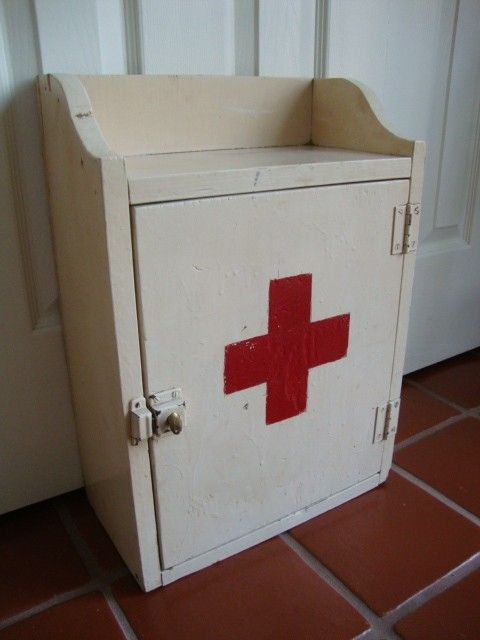 Industrial RED CROSS wood medicine cabinet by LathandPlaster ...