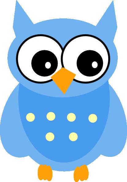 Cute Cartoon Owls   Blue Owl clip art - vector clip art online ...