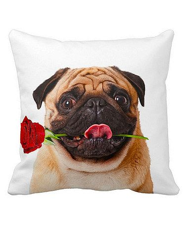 Look what I found on #zulily! Fawn Pug With Rose Sublimated Throw Pillow #zulilyfinds