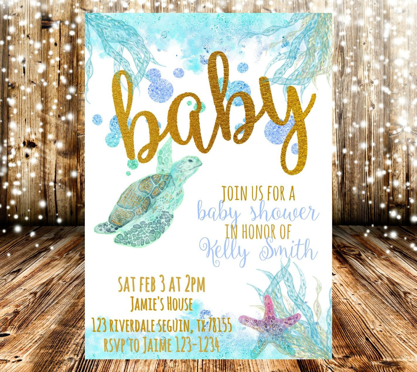 Ocean Baby Shower Invitation   Ocean baby showers, Shower ...