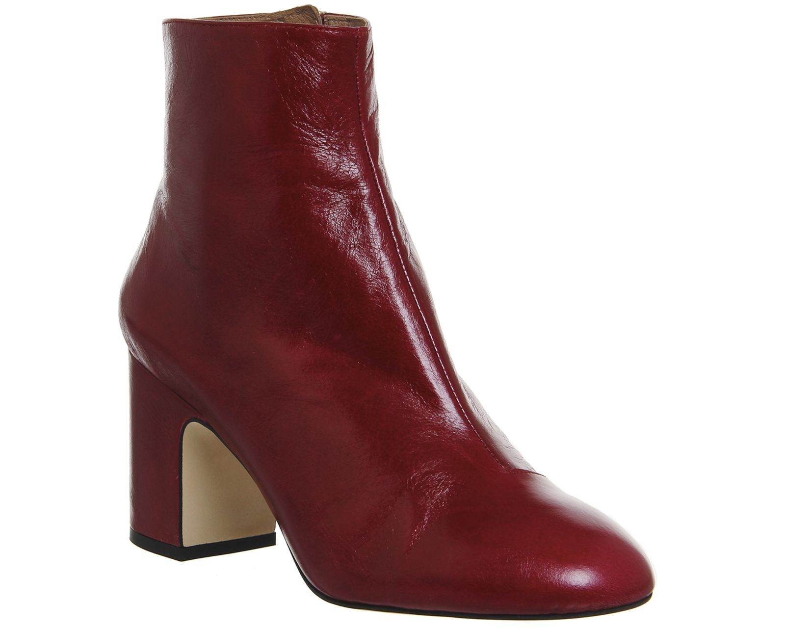 Office Laughter Block Heel Ankle Boots Red Leather | OFFICE ...