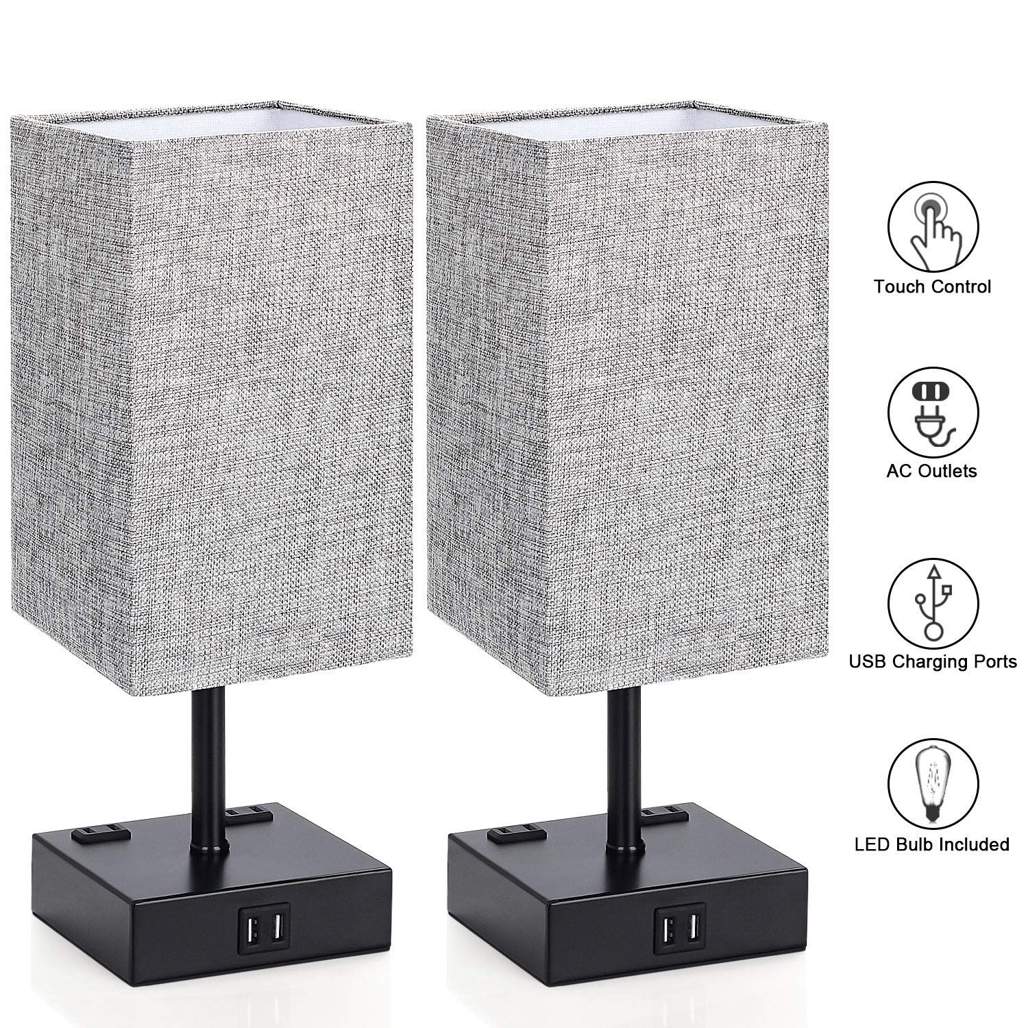 Touch Control Table Lamp 3 Way Bedside Desk Lamps Modern Night Light Lamp