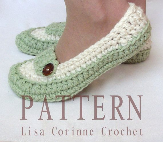 Crochet Slippers PATTERN, Womens House Slippers, Ladies Slippers ...