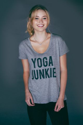 """""""Yoga Junkie"""" Grey Swoop Neck And Oh Kale Yes white swoop neck"""