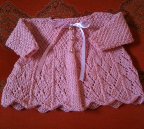 Hand Knitting Tutorials Lace Knit Baby Sweater Free Pattern