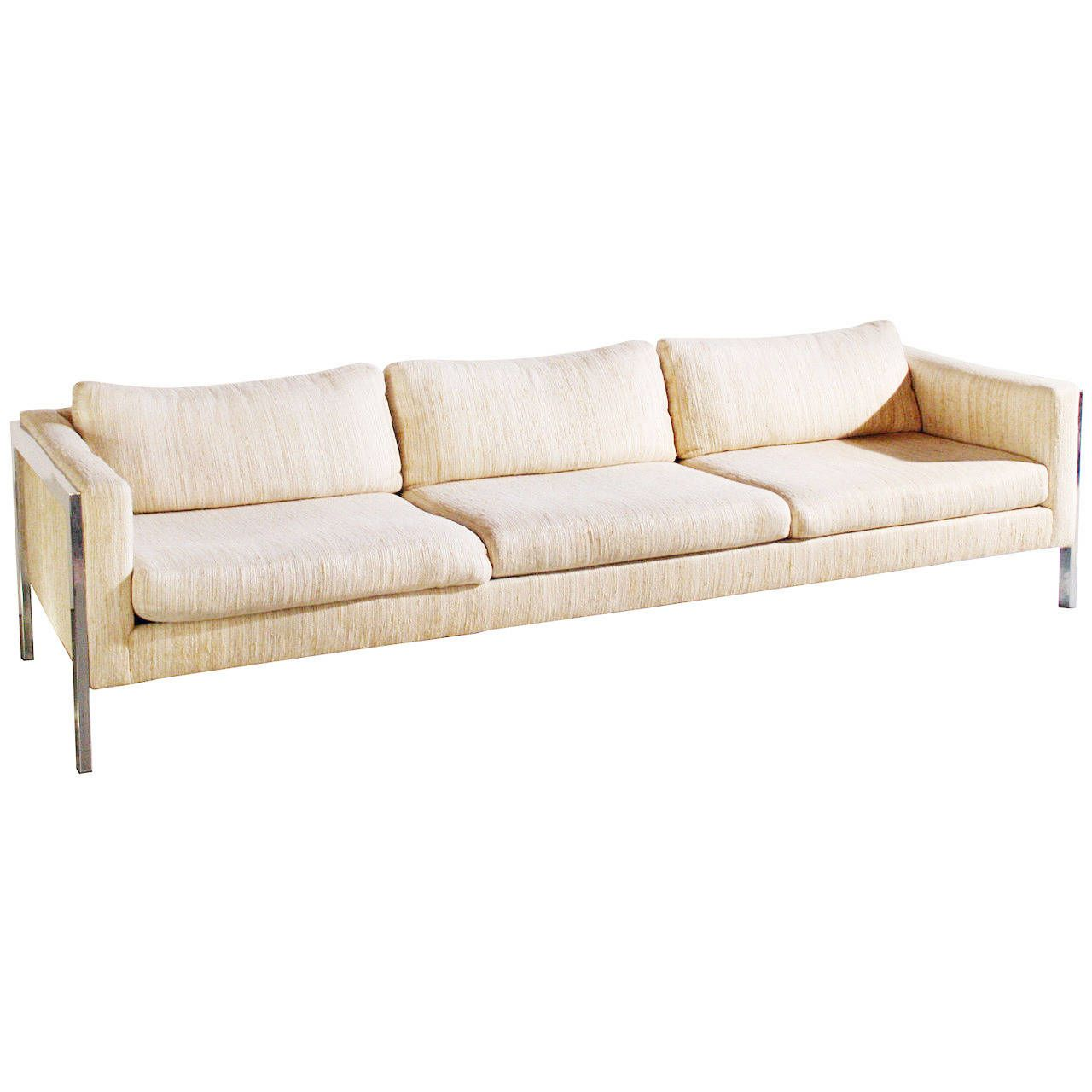 Milo Baughman Chrome Sofa Cream sofa and Modern