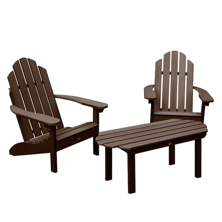 Highwood Westport Adirondack Chairs With Conversation Table Brown Adirondack Rocking Chair Patio Chairs