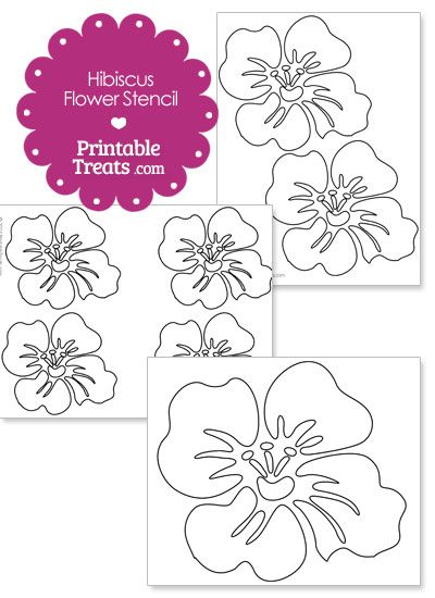 Printable Hibiscus Flower Stencil In 2020 Flower Stencil Flower Quilts Card Patterns