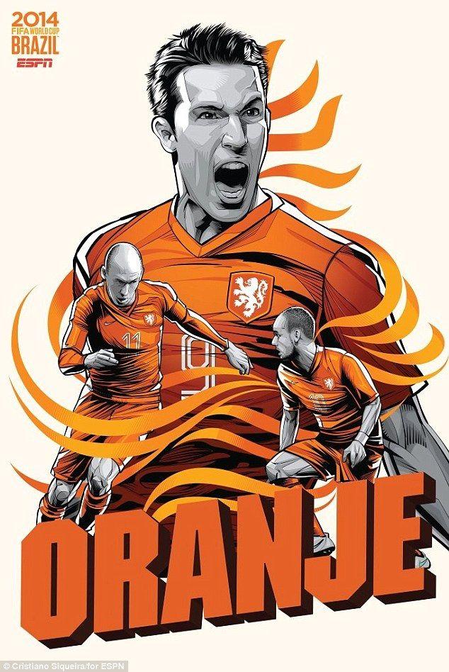 Robin van Persie, Arjen Robben and Wesley Sneijder represent the Netherlands...