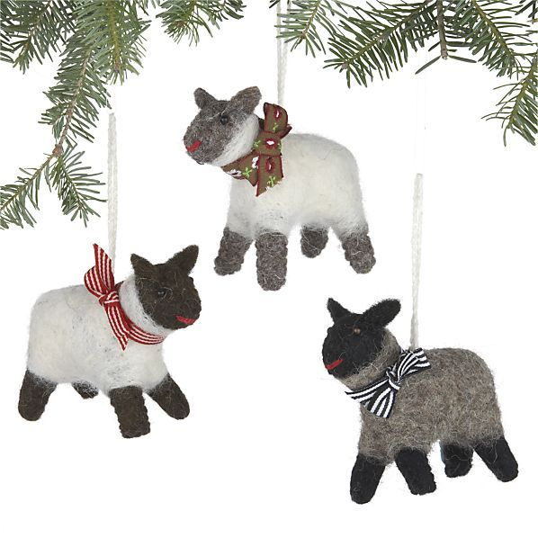 Set Of 3 Wooly Sheep Ornaments In Christmas Ornaments Crate And Barrel Ornaments Christmas Ornaments Holiday