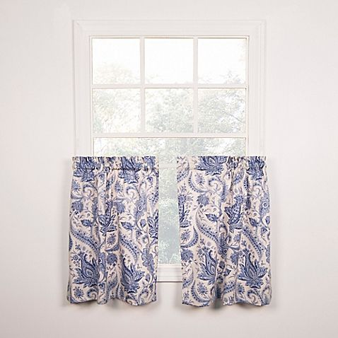 36 inch window curtains love laugh artissimo tailored 36inch window curtain tier pair in blue