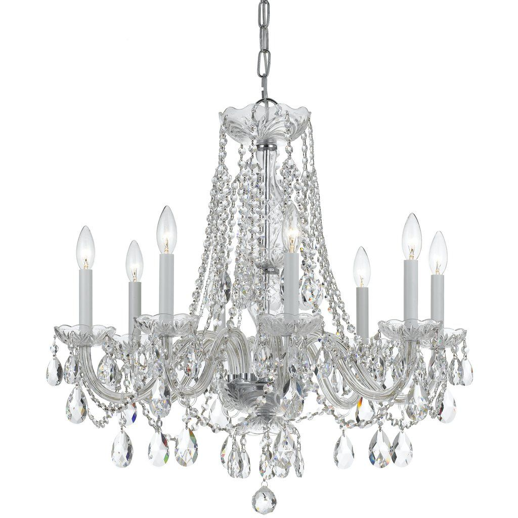 8 Light Polished Chrome Crystal Chandelier D D In Clear