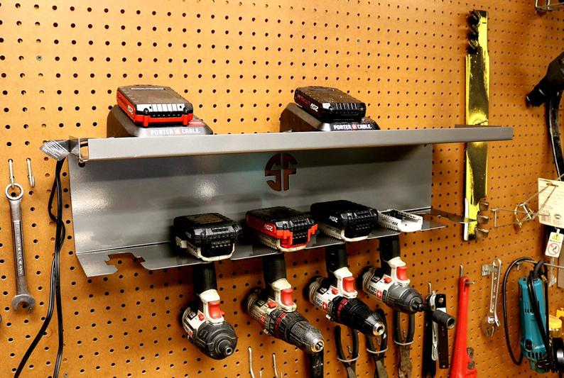Cordless Drill Driver Organizer Hanging Mount With Battery Etsy Cordless Drill Drill Holder Drill Driver