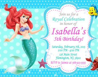 Little Mermaid Ariel Birthday Party Invitation Digital File - Custom ariel birthday invitations