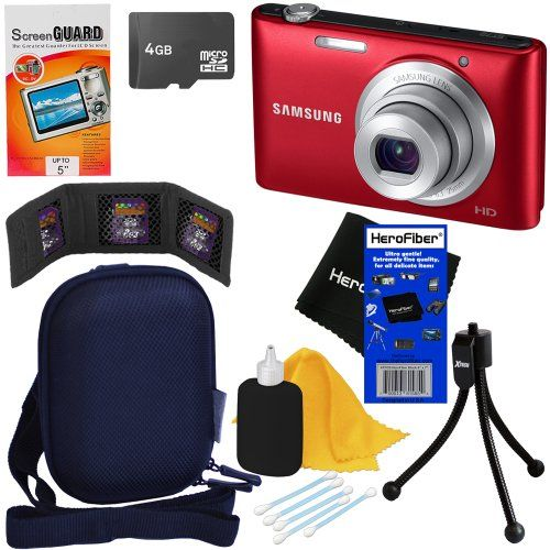"Samsung ST72 16.2MP Digital Camera with 5x Optical Zoom and 3.0"" LCD Screen (Red) + 7pc Bundle 4GB Accessory Kit... - Listing price: $149.99 Now: $89.95"