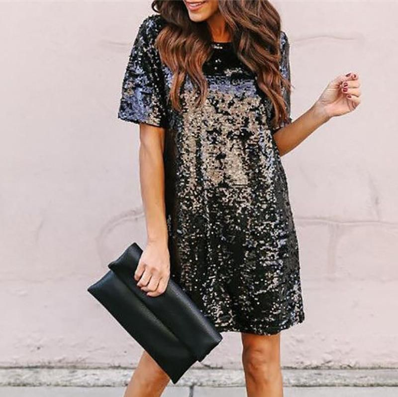 Photo of Fashion Sequins Round Neck Short Sleeve Mini Dresses  Limited Time Discount!! …