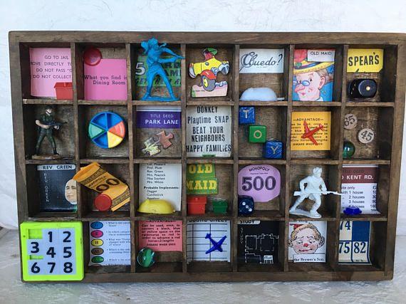 Vintage Board Games Shadow Box Games Room Decor Marbles Monopoly