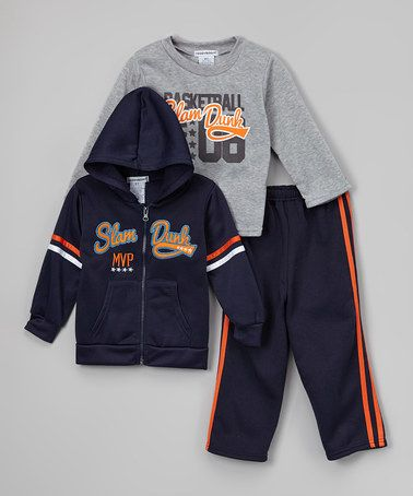 Another great find on #zulily! Navy & Gray Zip-Up Hoodie Set - Infant, Toddler & Boys #zulilyfinds