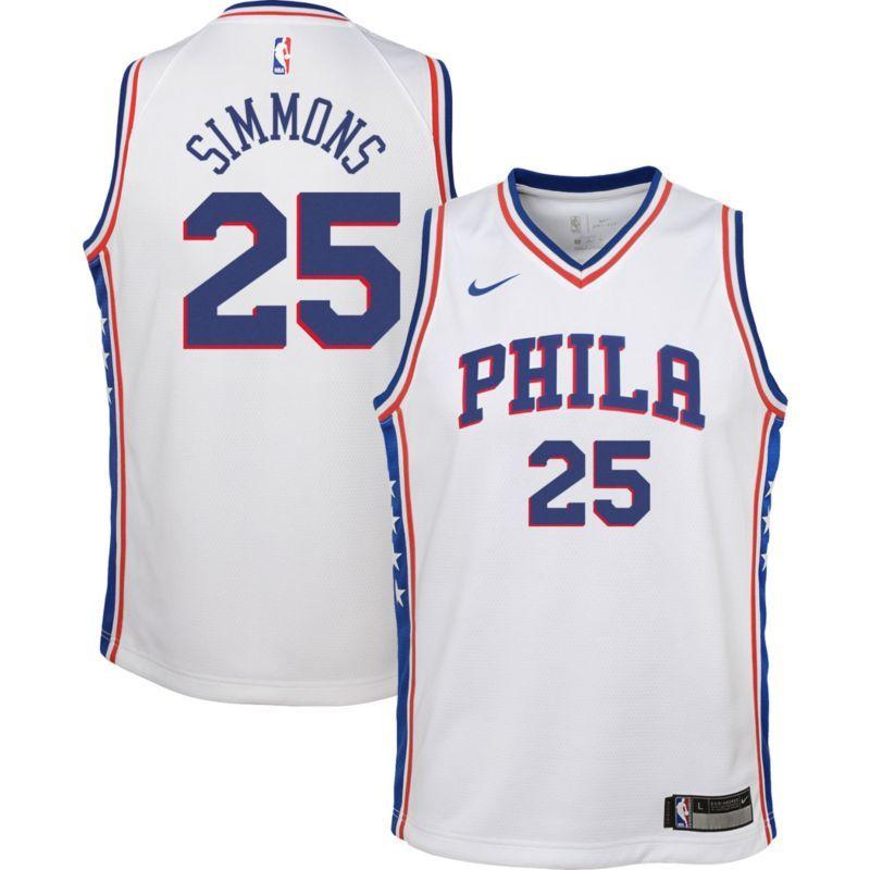 b2a50e8a1 Nike Youth Philadelphia 76ers Ben Simmons  25 White Dri-FIT Swingman Jersey