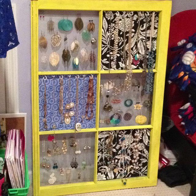 DIY jewelry organizer made from an old window Crafty Pinterest