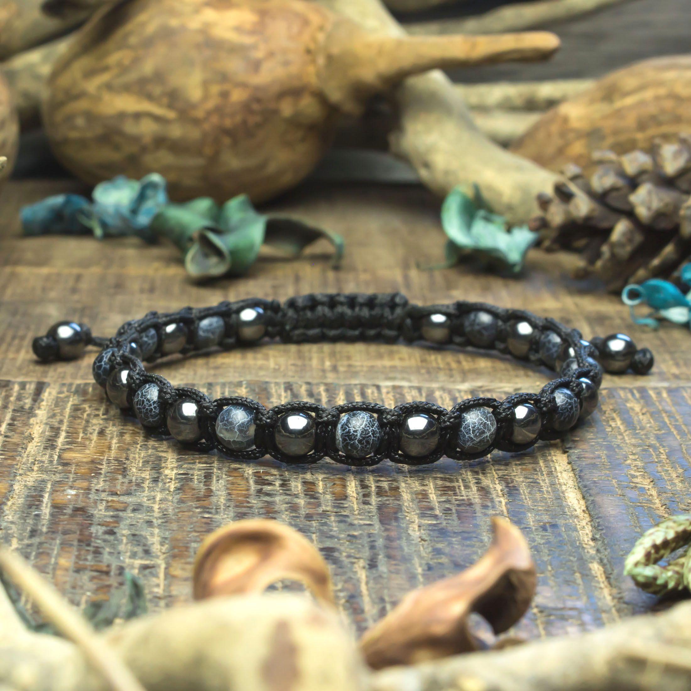 Bracelet de 18 cm en pierres naturelles en perles d/'hématite de 6 mm
