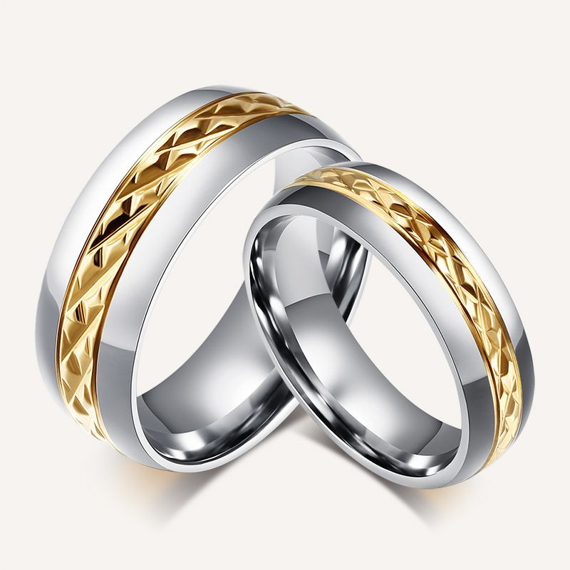 Stainless Steel Gold diamond Cut Center Wedding Ring No Stone ...