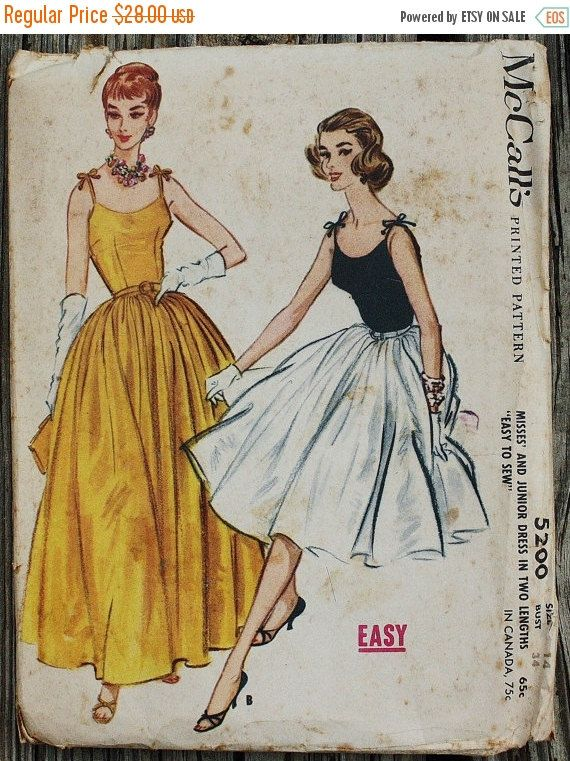 25 Pattern Sale Mccall 5200 1950s 50s Spaghetti Strap Evening
