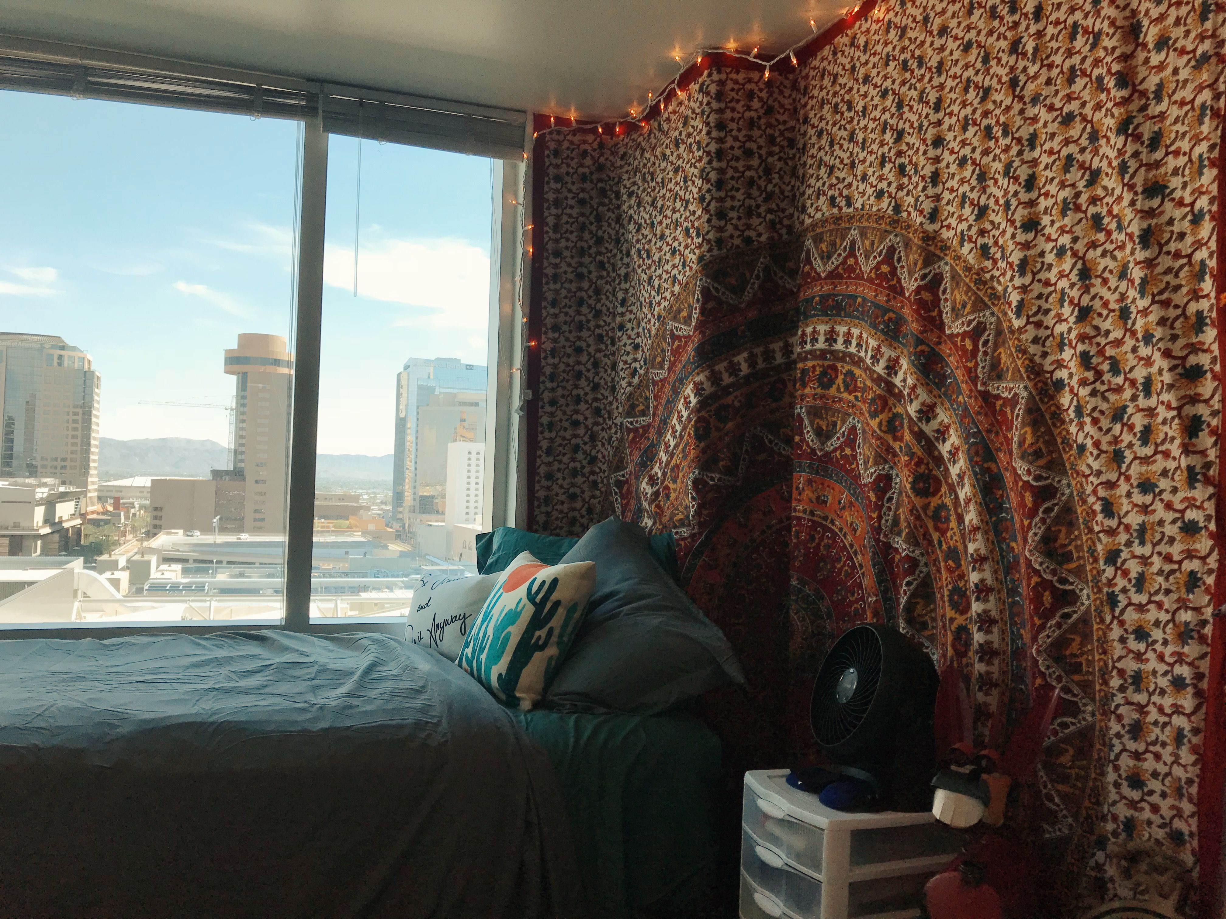 Arizona State University Asu Taylor Place Dorms Dorm Room Tapestry Boho Bohemian Indie Bedding Window View 14th Floor Dorm Room Tapestry Asu Dorm Window Bed
