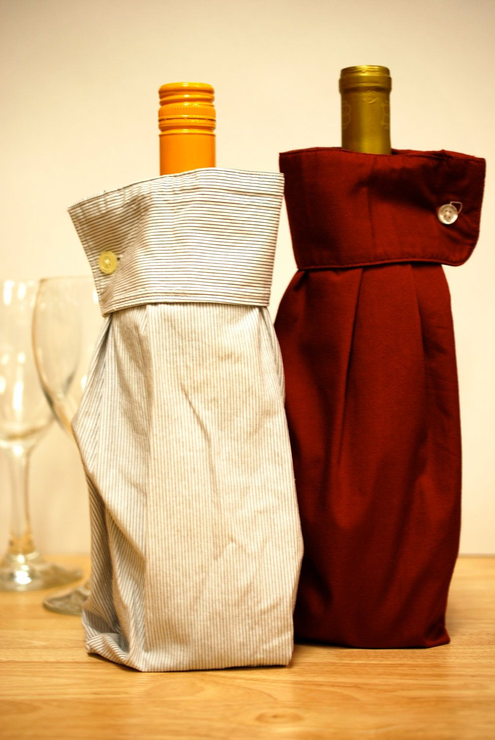 2 Upcycled Men S Dress Shirt Wine Sleeve Gift Bags Maybe Get Shirts From The Thrift Store Wine Sleeve Wine Bottle Sleeves Mens Shirt Dress