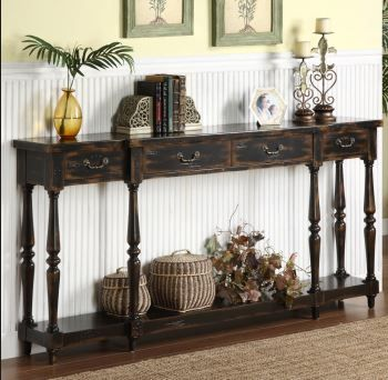 Coast To Coast Console Black With Rub Through Finish 72 Long And 12 Deep Black Console Table Traditional Console Tables Decor