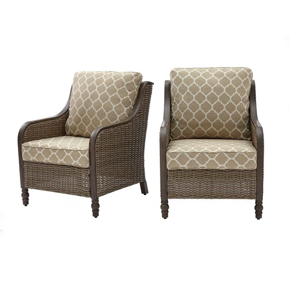 Hampton Bay Windsor Brown Wicker Outdoor Patio Lounge Chair with CushionGuard Toffee Trellis Tan Cushions 2PackH15601524900  The Home Depot2packh15601524900