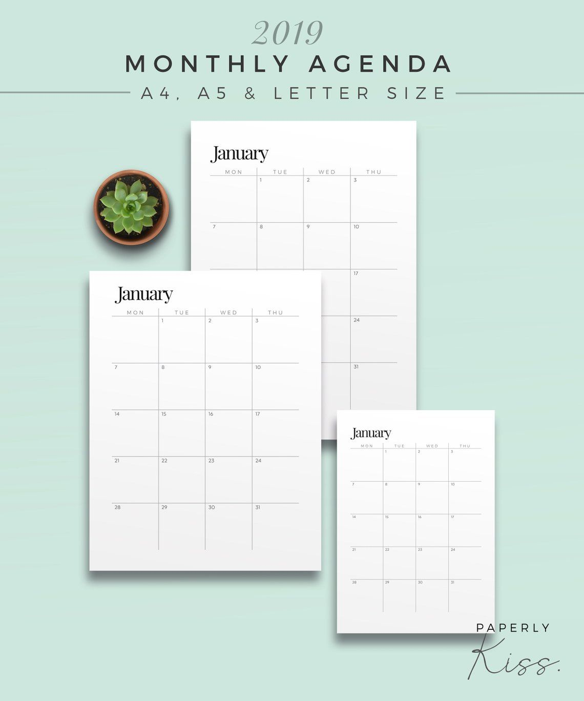 2019 Two Page Monthly Planner Printable Planner Inserts Etsy