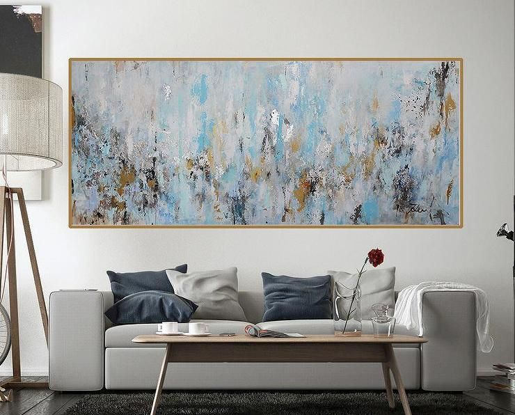 rectangular blue gold acrylic painting painting on modern acrylic paintings for living room id=52572