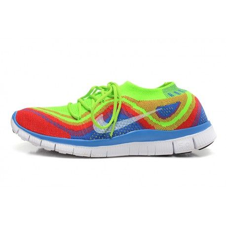 Nike Free Flyknit 5.0 Mens Shoes Yellow / Red / Blue $88