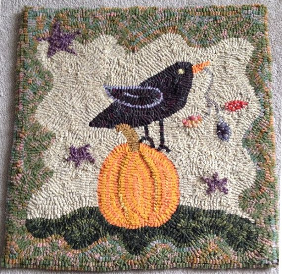 Pumpkin and Crow Primitive Hooked Rug by milliesmom00 on Etsy, $80.00