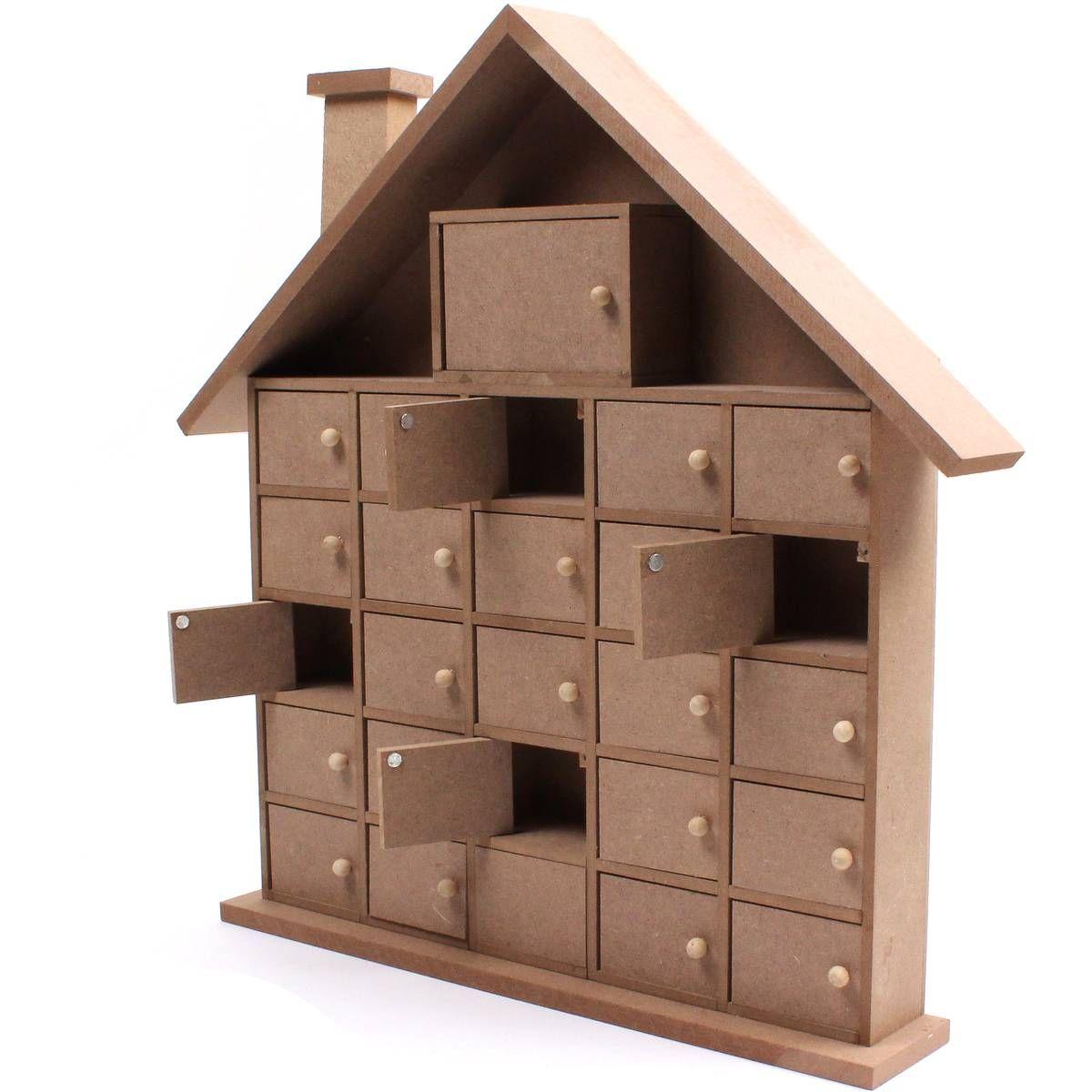 Wooden house advent calendar 40 cm hobbycraft