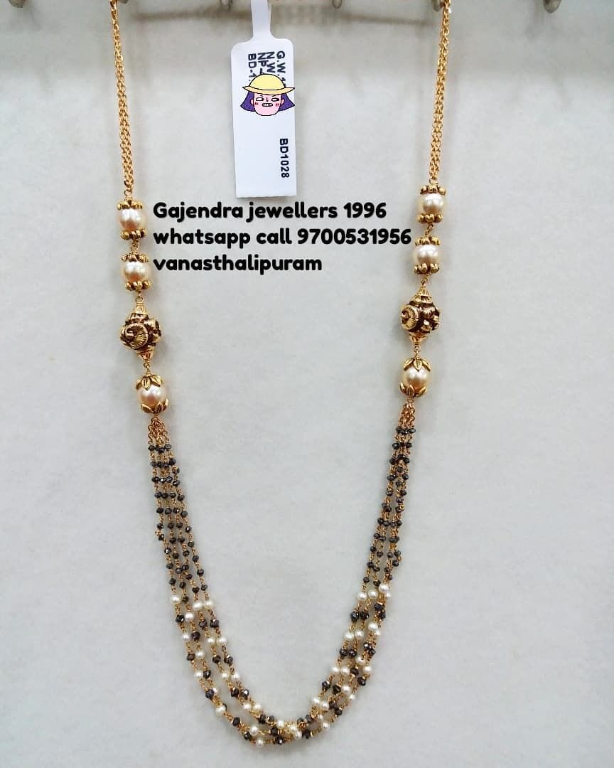 Gajendra Jewellers Br Vanasthalipuram Ngos Colony Opposite To Kotak Mahindr Black Beaded Jewelry Black Beads Mangalsutra Design Gold Jewelry Simple Necklace