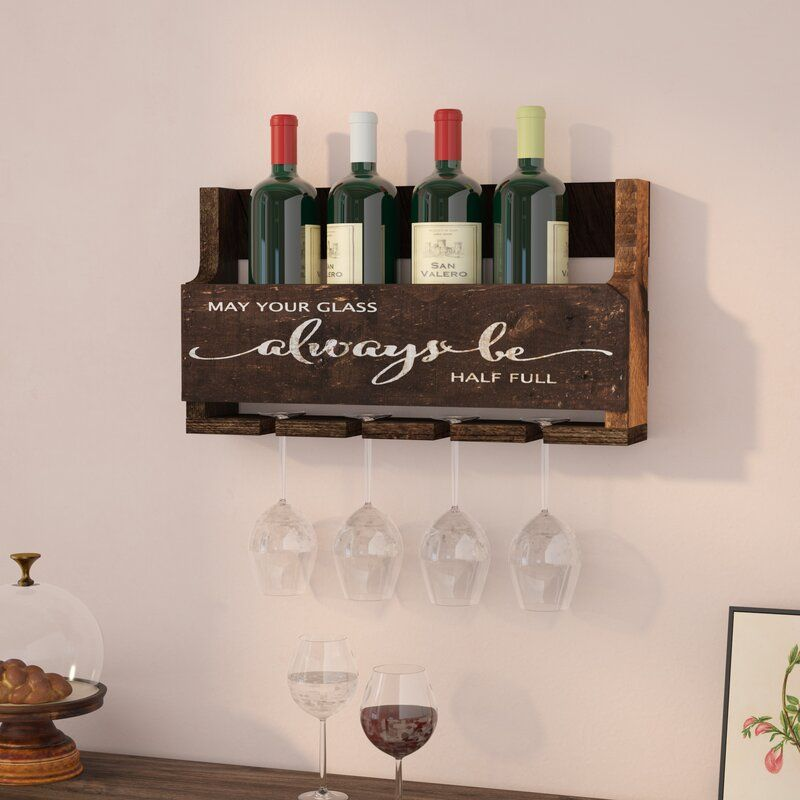 Mccandless Always Be 6 Bottle Wall Mounted Wine Bottle And Glass Rack In 2021 Bottle Wall Hanging Wine Glass Rack Glass Rack