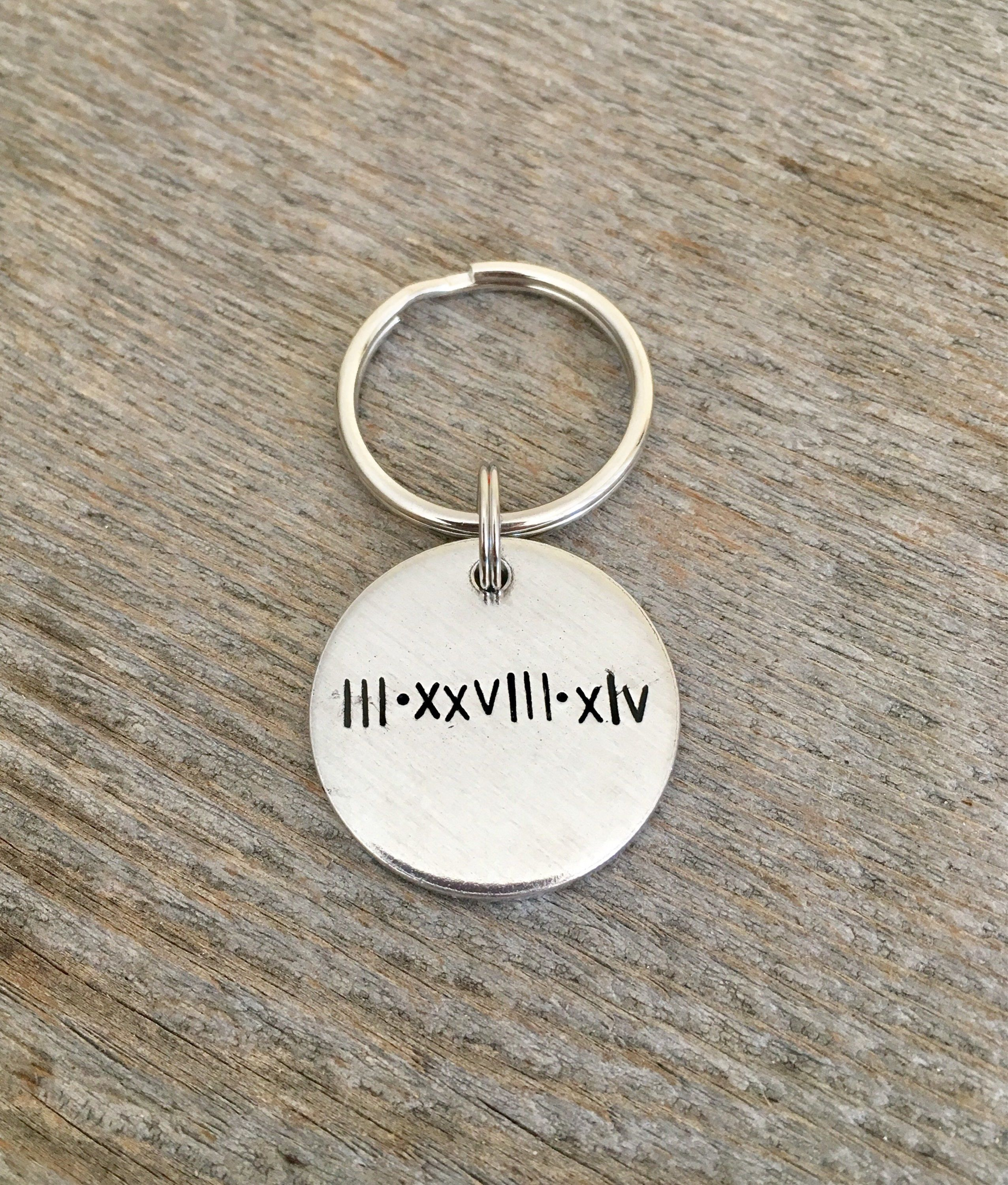 Roman Numeral Keychain Personalized Gift Special Date Birthday