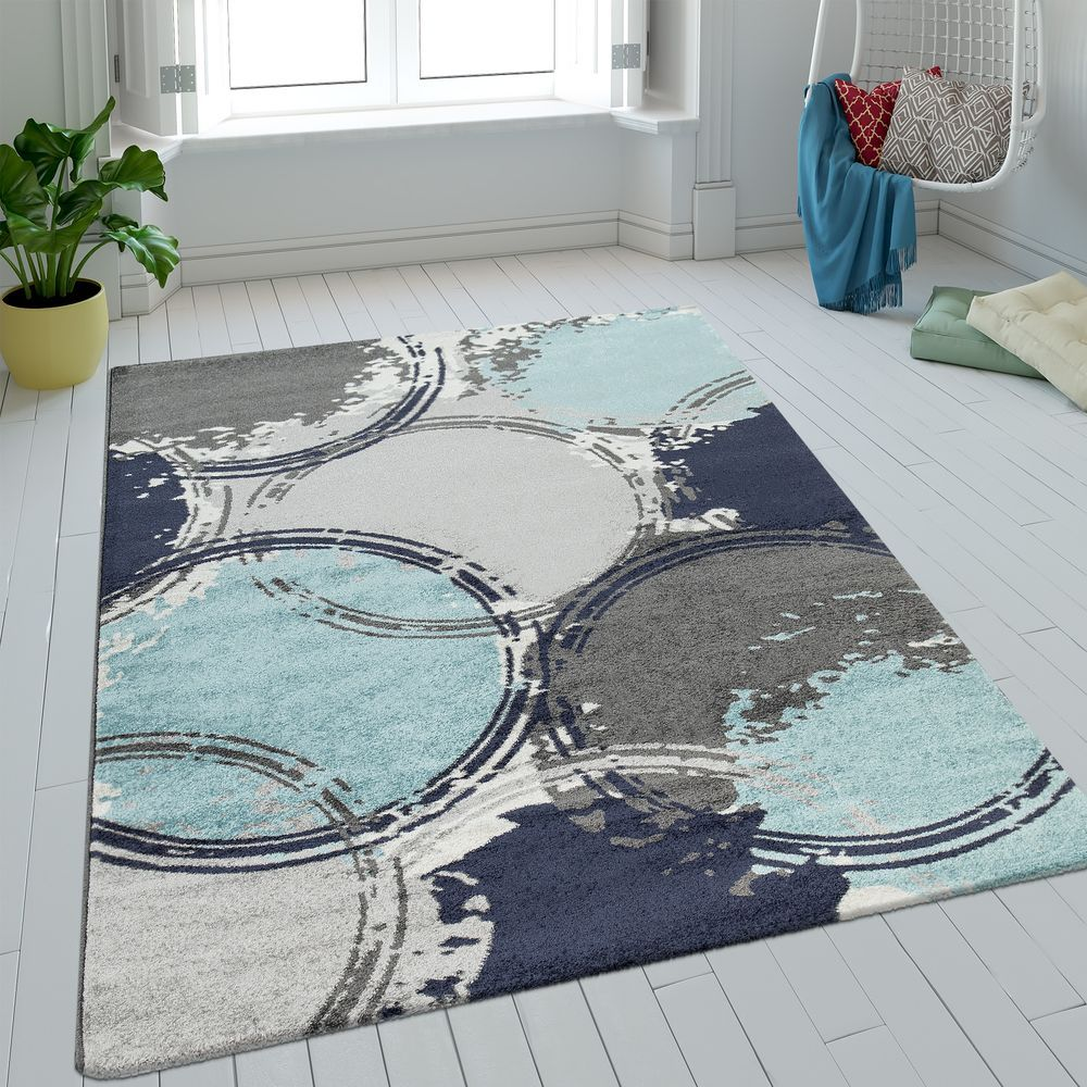 Teppich Retro Batik Blau Grau Turkis Kurzflor Inspiration