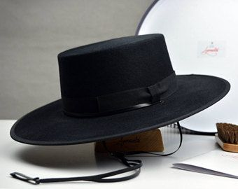 The Gaucho - Black Rabbit Fur Felt Flat Crown Bolero Hat - Extra-wide Brim  - Men Women a400104a1f70