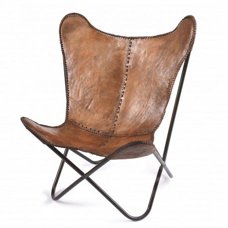bbb358ae88a62c Fauteuil papillon cuir  amp  métal marron Nordal - Décoration intérieure et  petit mobilier design scandinave