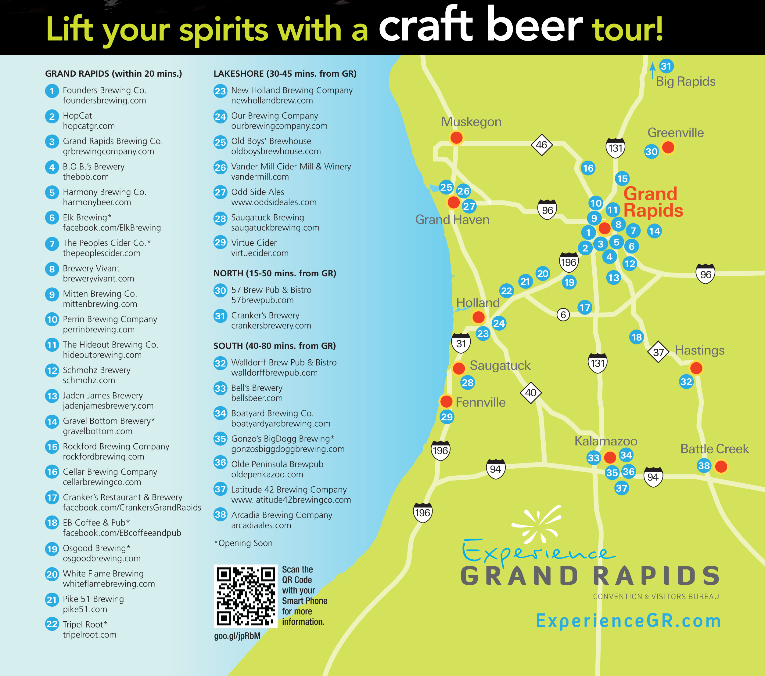A Craft Brewery Tour Map For Grand Rapids Travel Grand Rapids - Mich map usa