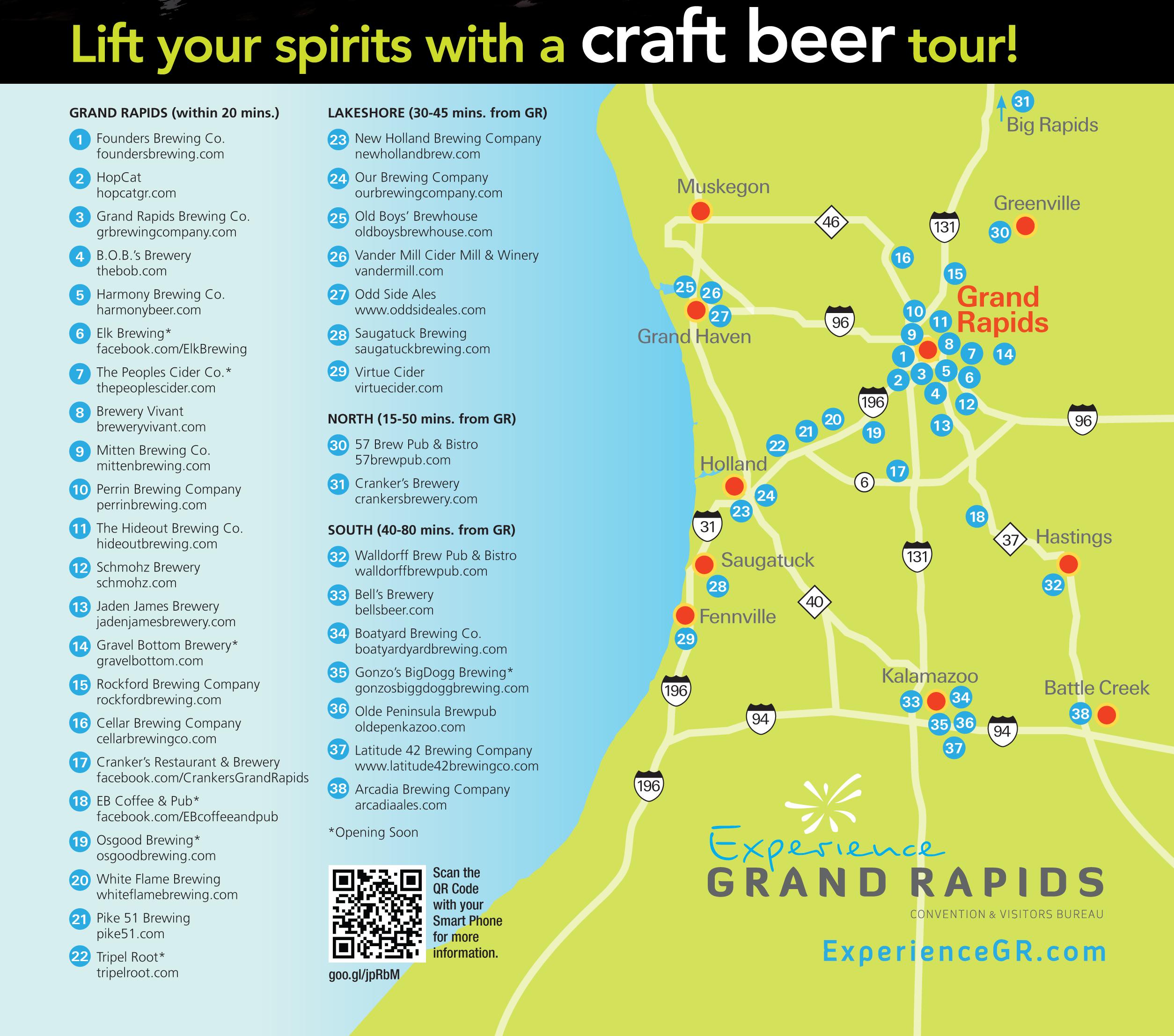 Grand Rapids Brewery Map Pinterest