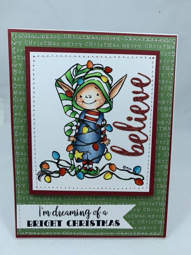 Christmas elf with lights blank notecard greetings card