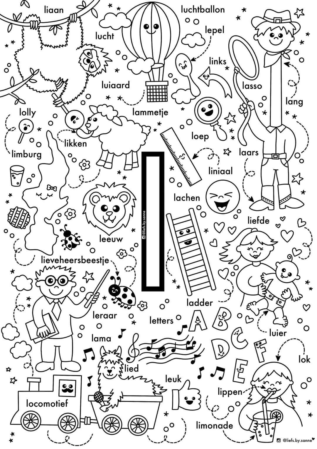 L Woorden Kleurplaat Letterherkenning Alfabet Kleurplaten Letterherkenning Spelletjes